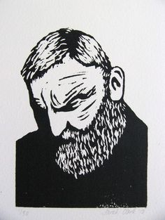 Bearded Man Lino Print