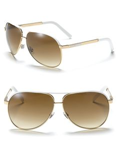 cba8b5bb975b8 Gucci Óculos de sol Aviador Branco  Dourado GG1827S Óculos Gucci