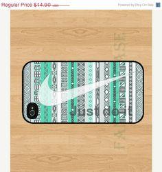 SALE Just Do It Cool Mint Aztec  iPhone 4 Case  by FantasyCase, $12.90