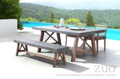 The Ford Dining table is made from solid Acacia wood base finished in a contemporary dark walnut stain. The top is a non-porous epoxy and cement mix designed to be easily cleaned with any household detergent. This table exemplifies strength and style for any space outdoor or indoor.