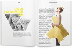 I love the column of type hugs the image. The sharp edges mirror the triangular images on the left side. Although there is alot of type here, I think it is contrasted nicely with the image of the woman. The yellow also brings interest to the spread.