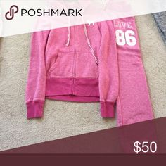 Pink NWOT sweatpants and hoodie Pink vs NWOT unique sweatsuit.   Hoodie and banded pants PINK Victoria's Secret Pants Track Pants & Joggers