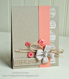 buttons, flowers and twine card
