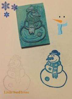 muñeco de nieve sello carvado a mano  http://littlesunflowerhandmade.blogspot.com.es/