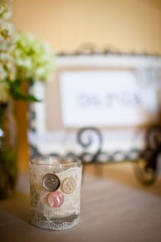 DIY candle votive with lace and buttons #pretty #vintage #candles