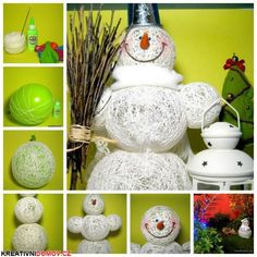 What a super cute idea to make a snowman without using snow! You will enjoy this Snowman DIY From Yarn and Balloons. It will be a lovely addition to. Snowman Crafts, Christmas Projects, Holiday Crafts, Christmas Ideas, Noel Christmas, All Things Christmas, Christmas Ornaments, Christmas Balloons, Snowman Decorations