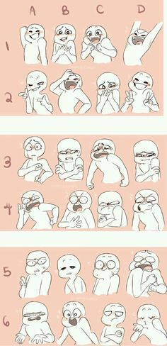 expression and pose examples - I will do four of them, if you do three of them. You choose the characters.