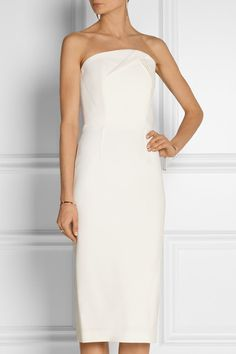 Roland Mouret - Electra Strapless Wool-crepe Dress - Ivory - UK16