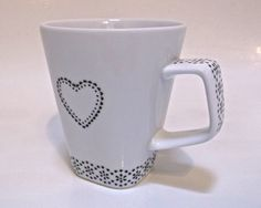 Hand Painted Mug - Doily Heart