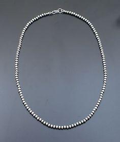"Marilyn Platero Sterling Silver  Navajo Pearls 24"" 4MM"