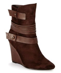 Brown Strap Abby Wedge Bootie by Jacobies Footwear #zulily #zulilyfinds