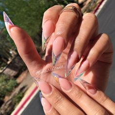 amazing acrylic stiletto nails art ideas that are trending 27 ~ my. Clear Acrylic Nails, Clear Nails, Crystal Nails, Clear Nail Tips, Stone Nails, Hair And Nails, My Nails, Pretty Nails, Gorgeous Nails