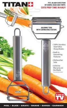 - Slices-Grooves - Shreds-Garnishes - Shaves - Peels - Grates This revolutionary peeler has dual-action, double-sided stainless steel blades that cut going up and down-slashing peeling and slicing tim