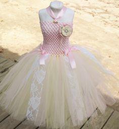 Pink rose shabby chic tutu dress Baby toddler by DesignedByDaph, $28.00