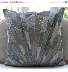 4th July Sale Throw Pillow Covers Accent Pillow Decorative Pillow Couch Sofa Pillow 16x16 Inches Silk Pillow Cover Embroidered Sequins Beads