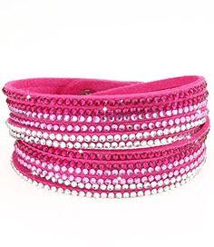 caripe Damen Armband Wickelarmband Glitzer Steine viele Designs + Farben - strala (Modell 1 - pink) - http://schmuckhaus.online/caripe/modell-1-pink-caripe-damen-armband-wickelarmband