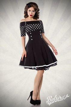Sexy Vintage-Kleid Rockabilly 50er Schwarz Weiß Retro 1950er Streifen Punkte Neu