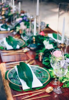 Tropical weddings - wedding table decor + taper candles + greenery table runner + banana leaf name card {Jennifer Harter Photography} Destination Wedding Inspiration, Destination Weddings, Wedding Ideas, Tropical Weddings, Floral Watercolor, Watercolor Wedding, Wedding Mood Board, Wedding Table Decorations, Taper Candles
