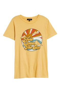 Free shipping and returns on La La Land Creative Co Sun Graphic Tee at Nordstrom.com. A weathered graphic shows sunny skies ahead on this comfy cotton tee. Build A Wardrobe, Cotton Tee, Graphic Tees, Short Sleeves, Creative, Mens Tops, Nordstrom, Comfy, Sun