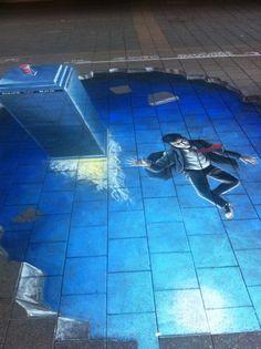 3D chalk street art  Dr Who.....