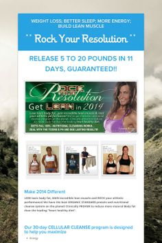 ** Rock Your Resolution ** - Weight Loss; More Energy; Build Lean Muscle by Tracy Fuehrer Athletic Body, Resolutions, Helping People, Cleanse, Thats Not My, Muscle, Sleep, Weight Loss, Wellness