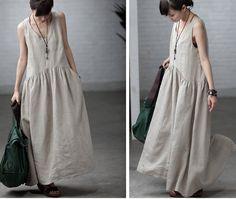 Maxi Dress Summer Dress in Rice White dark blue by clothnew88