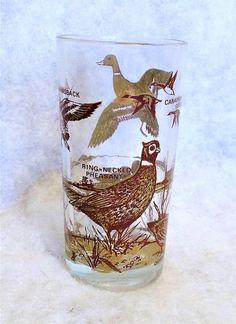 1960s Vintage Game Birds Drinking Glass Ducks Pheasant Quail