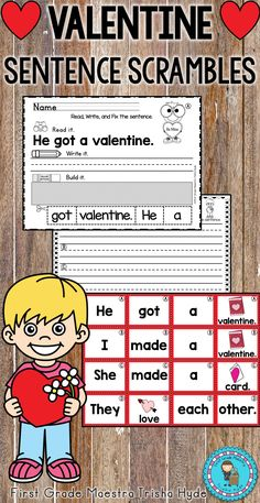 Your students will love these Valentine sentence scramble worksheets and literacy station center. This is high engagement and low prep!  Students can complete the worksheet independent of the literacy center or after building the sentence at the literacy center.  There are 20 sentences in this packet with 4-7 words in each sentence.  Click the Visit button to see all of the resources in this product.