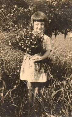 Antique Vintage Photograph Little Girl in Garden Holding Bouquet of Flowers