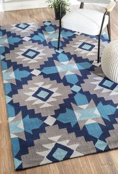 $5 Off when you share! Radiante BC68 Blue Rug | Contemporary Rugs #RugsUSA