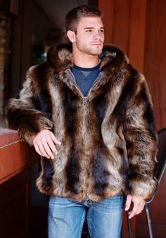 Tanuki Faux Fur Men's Hooded Parka | Fabulous-Furs