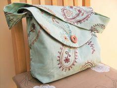 Aqua Paisley classic Cotton Handbag  strong Fabric, lined, 2 internal pockets £15.00