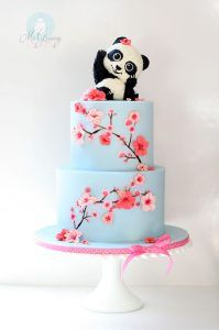 panda and cherry blossoms tall 1