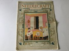 Needle craft magazine March 1927 antique collectible Cover of little girls pink room cinderella story by Hannahandhersisters on Etsy