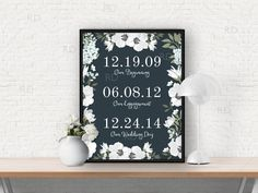 Important Dates Art with Florals