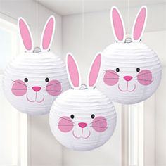 Why have 1 Easter bunny when you can have These paper lanterns each feature an adorable bunny face and come with cardboard ears that are easy to attach. Decorate your home or classroom for an Easter celebration that the kids will love. Lanterns Decor, Paper Lanterns, Hanging Decorations, Paper Lantern Decorations, Ostern Party, Diy And Crafts, Crafts For Kids, Lantern Craft, Bunny Party