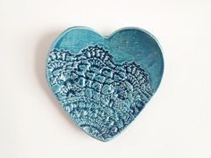 Heart Ring Dish - Teal Home Decor - Teal Wedding Favors - Ceramics and Pottery