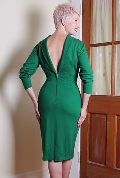 BOMBSHELL 1950's Rich Emerald Green Wool Jersey by butchwaxvintage