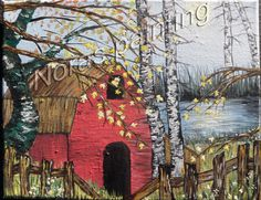 Acrylic Painting, Canvas painting, Landscape, Barn, forest by LoveCareHandmade on Etsy https://www.etsy.com/listing/271084499/acrylic-painting-canvas-painting