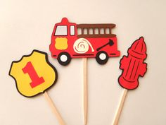 Fire Truck Party Cupcake Toppers  Firetruck Birthday Fire