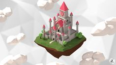 Cute Bedroom Ideas, Fantasy House, 3d Background, Low Poly, Sky, Holiday Decor, Illustration, Artwork, Castles