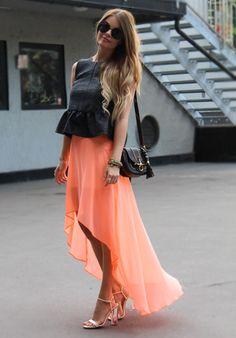Peplum + High-Low Skirt