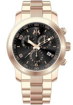 Jivago JV5224 Watches,Women's Infinity chronograph Quartz Black Dial Rose Goldtone Stainless Steel, Women's Jivago Quartz Watches