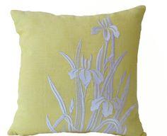 Items similar to Flower Pillow- Yellow Pillow Cover -Iris Flowers Embroidered Pillow- Linen Pillow Covers- Modern Throw pillows- Yellow White Pillows on Etsy Yellow Cushion Covers, Yellow Cushions, White Pillows, Linen Pillows, Bed Linen, Accent Pillows, Modern Cushions, Modern Throw Pillows, Decorative Throw Pillows