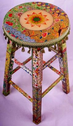 Fully colorful painted Boho's stool