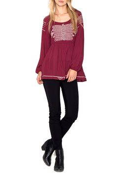 Flattering fit effortlessly stylish with jeans and booties...our Burgundy Boho Top is perfection on its own or with our Best Selling Sweet Lacey Cami! Embroidery details and cinched in waist makes this a great top for all occasions! Size Chart: S:0-6 M:6-8 L:10-12  Burgundy Boho Top by Umgee USA. Clothing - Tops Kentucky