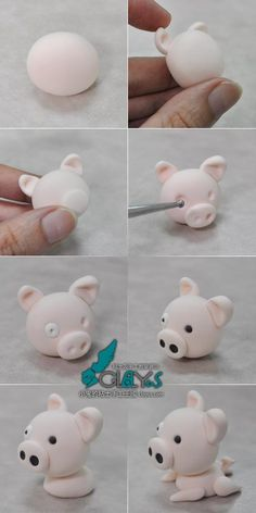 How to make pig fondant topper. Cupcakes Fondant, Fondant Icing, Fondant Toppers, Cake Topper Tutorial, Fondant Tutorial, Dyi Crafts, Clay Crafts, Fondant Animals, Modeling Chocolate