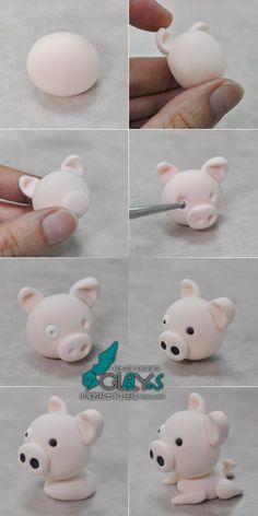 How to make pig fondant topper.