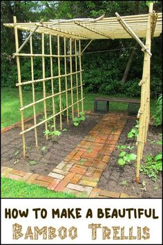 Need a Trellis? Why Not Make One Using Bamboo! Diy Bamboo, Bamboo Trellis, Arch Trellis, Diy Trellis, Bamboo Crafts, Garden Trellis, Bamboo Ideas, Bamboo Garden Ideas, Bamboo Panels