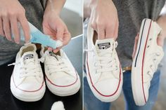 Use fingernail polish remover to clean the rubber soles of your tennis shoes. Repin if you think this is an awesome idea!